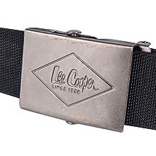 Lee Cooper Workwear LCBELT613 Canvas Belt Embossed Logo Metal Buckle