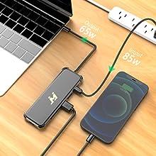 USB C Hub supports a 85W USB C pass-through charging