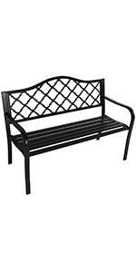 Sunnydaze Black Cast Iron Lattice Patio Garden Bench - 50-Inch