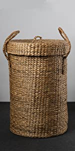 Kraftinn Water Hyacinth Laundry Basket with Lid
