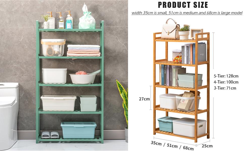 3-tier 4-tier 5-tier bamboo shelf