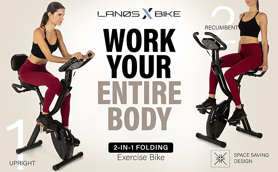 Lanos X-Bike, work your entire body with the 2-in-1 folding exercise bike
