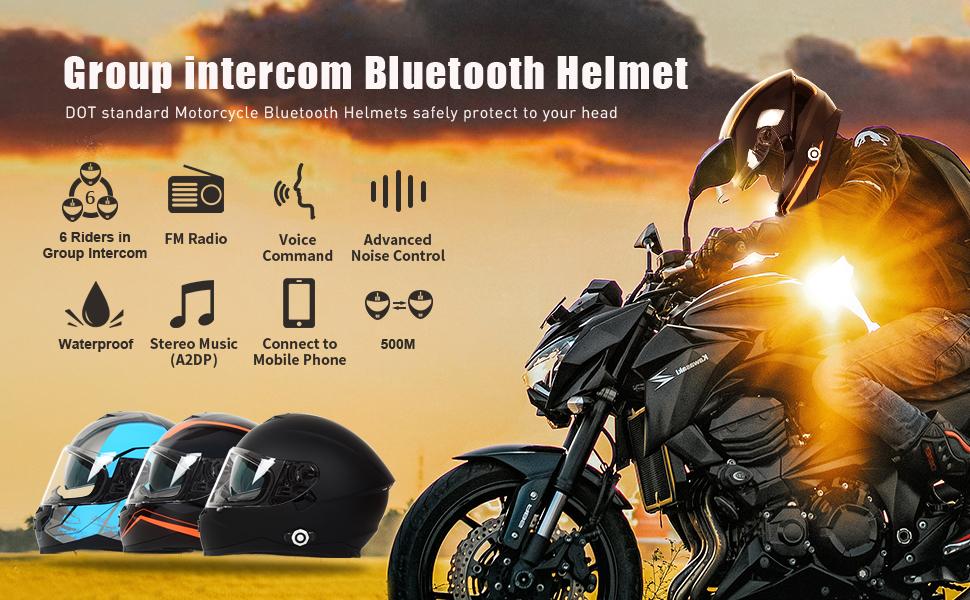 motorcycle helmets with bluetooth intercom
