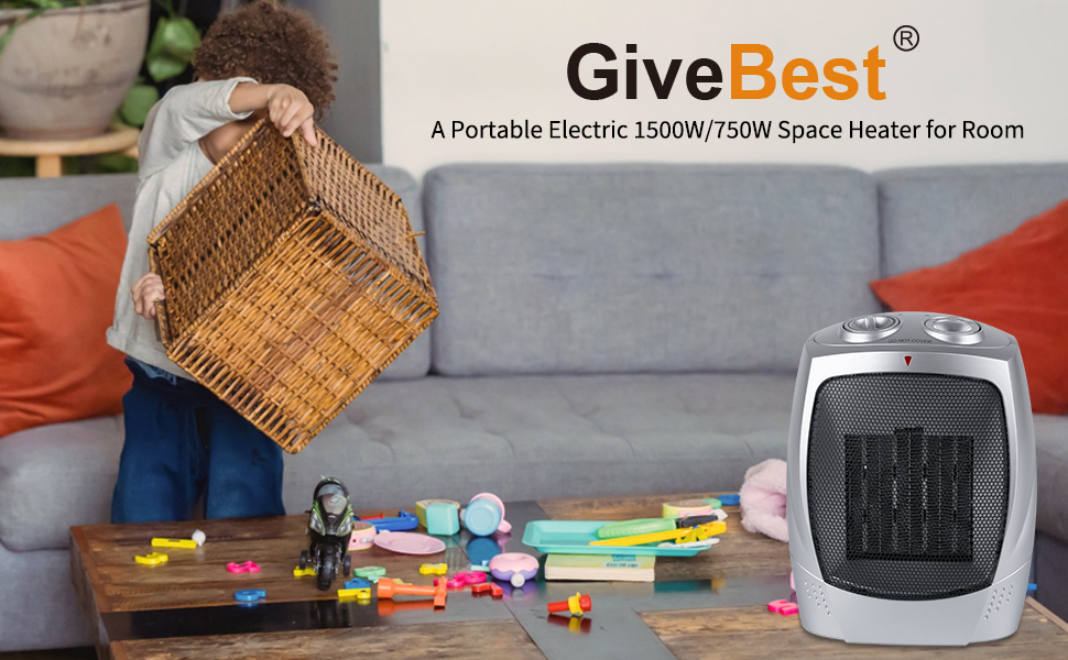 Electric 1500W/750W Space Heater for Room