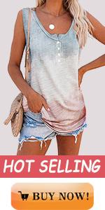 women fashion beach tie dye striped scoop henley sleeveless tank tops