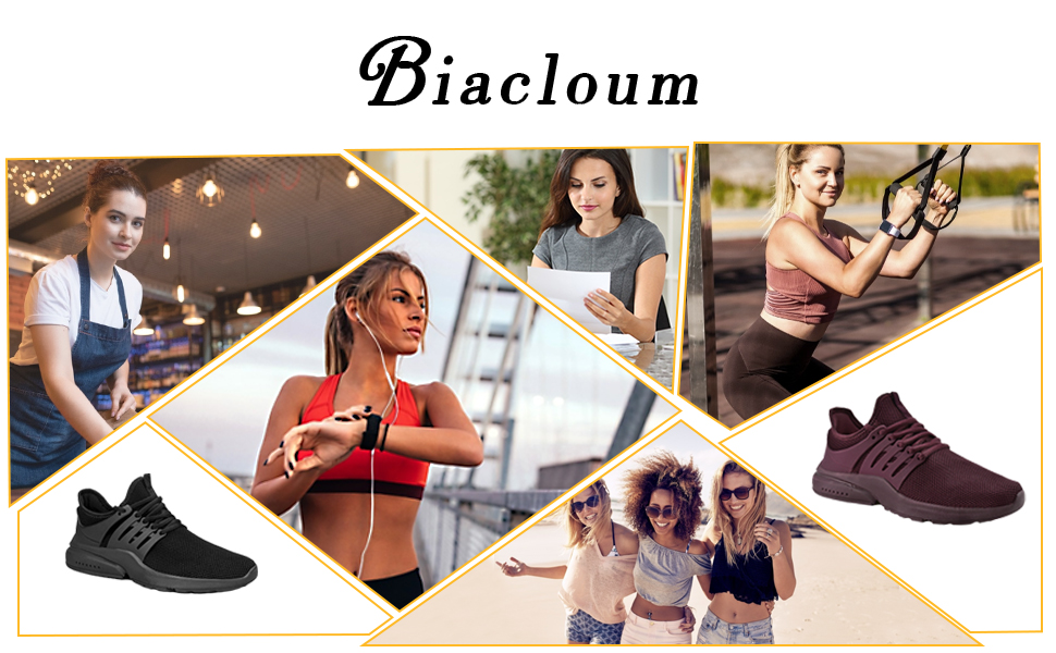 Biacloum Non Slip Running Sneakers Food Service Shoes