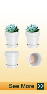 4pcs 6 inch white clay pots
