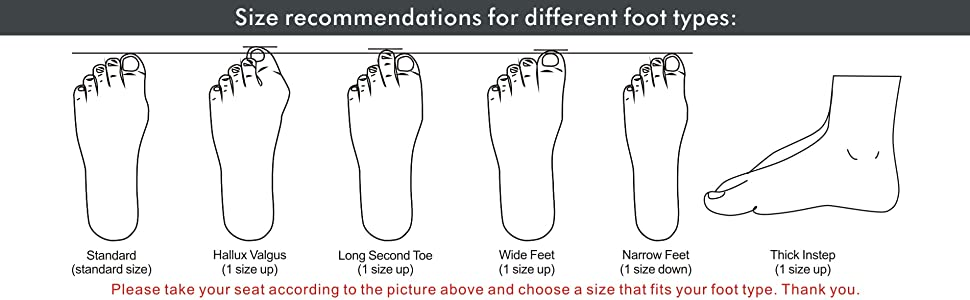 Size recommendations for different foot types