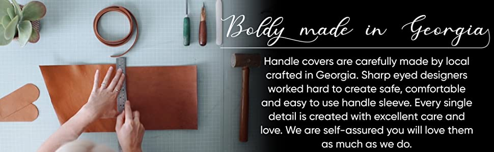 handle holder, leather skillet handle, cast iron skillet, leather handle