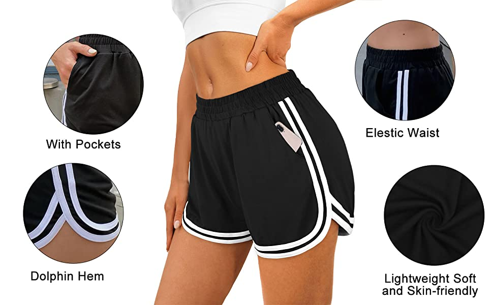 Details of the dolphin shorts with pockets elastic waist running athletic workout shorts