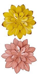 Metal Flowers Wall Art, 2 Pack