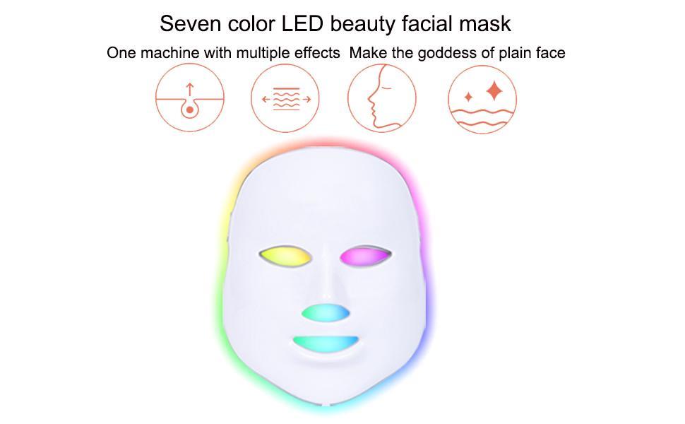 Seven color LED beauty facial mask