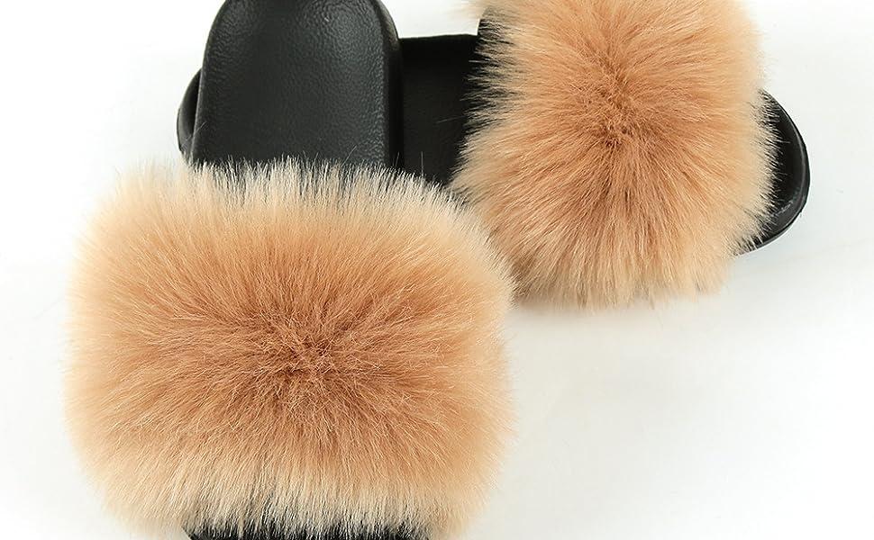 Women's Cute Fuzzy Faux Fur Slippers