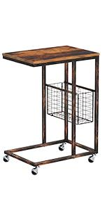 Rolanstar Side Table, C End Table, Mobile Snack Table with Storage Basket and Wheels