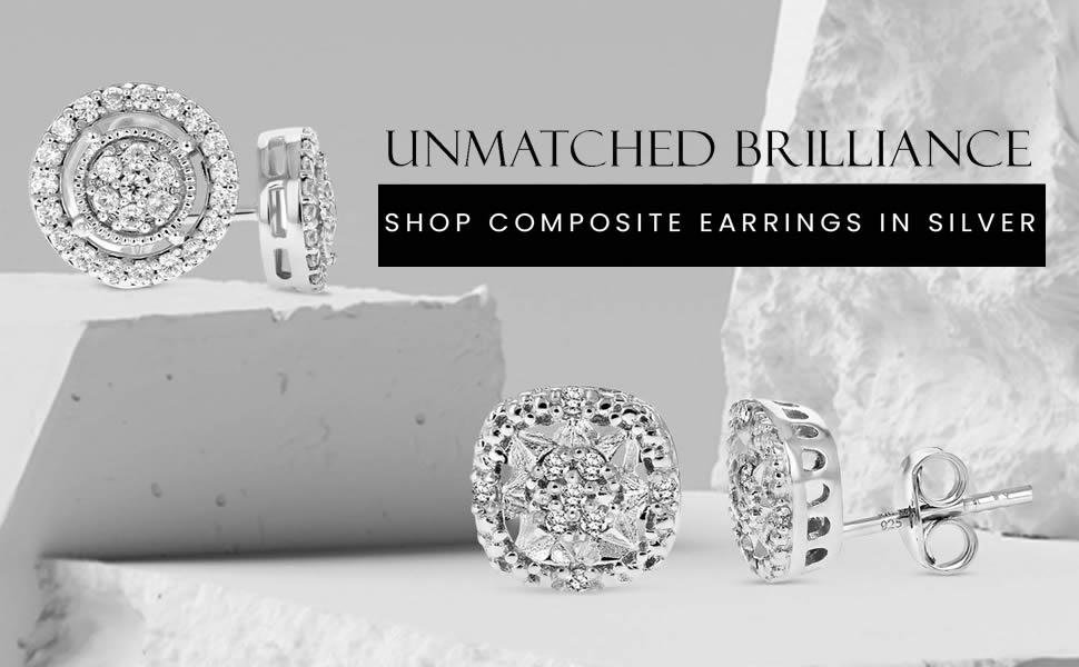Vir Jewels - Shop Diamond Stud Earrings in Sterling Silver
