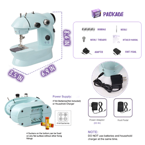 Sewing machine size and package
