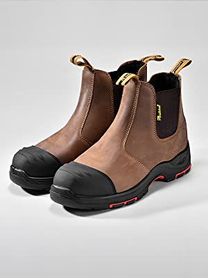 Mens Chelsea Work Boots Composite Toe Safety Boots Cow Leather Waterproof Lightweight Working Shoes