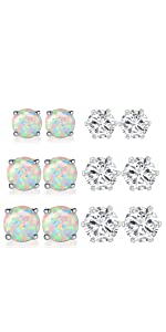 6 Pairs Pack of Opal CZ