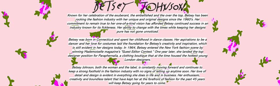 Betsey Johnson logo with rosebud motif and biography