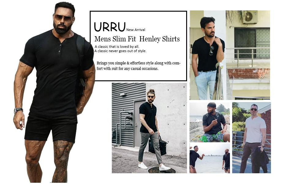 URRU Mens Slim Fit Muscle T Shirts Casual Short Sleeve Henley T-Shirt with 3 Buttons