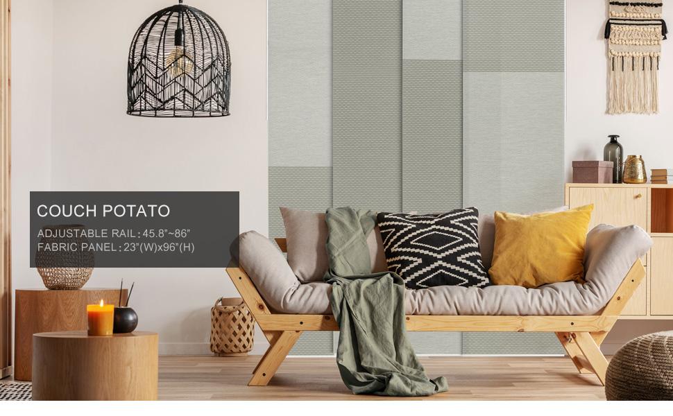 GoDear Design Grey Color Blocking Panel Track Blind, Couch Potato