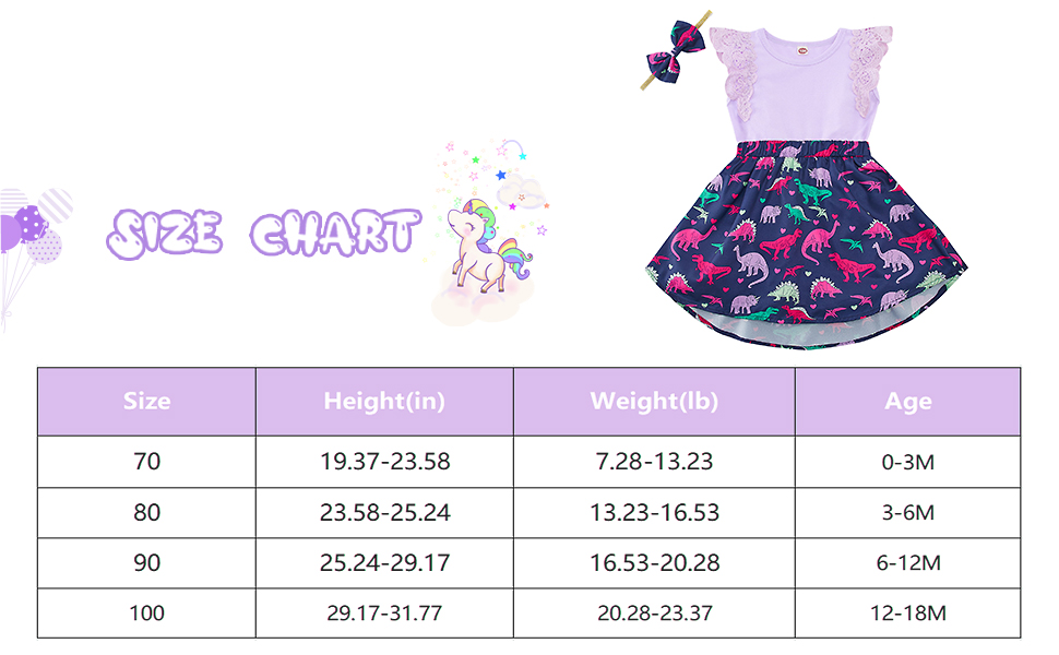 Baby Flutter Sleeve Dress with Headband Clothes Girl 12-18 Months