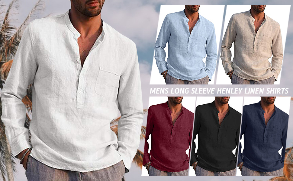 Mens fashion cotton linen henley shirt