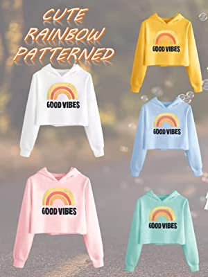 Caitefaso cute RAINBOW Patterned Sweatshirts Fall Clothes 3-9 T