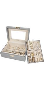 Two-Tray jewelry box-Simple Grey