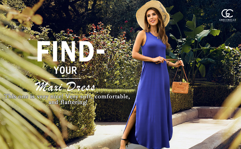 womens maxi dresses for women summer with pockets sleeveless tank maxi dress for summer sleeves maxi