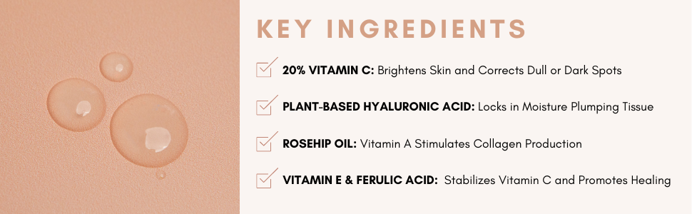 vitamin c key ingredients hyaluronic acid rosehip oil vitamin c ferulic acid