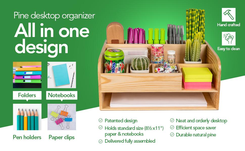 all in one design wood desk organizer