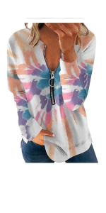 Zipper V Neck Tee Shirt Blouse