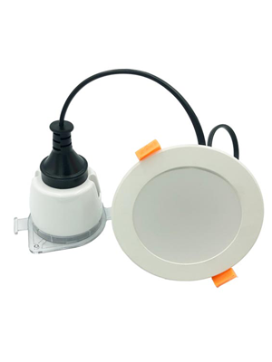 Downlight optional configuration socket and rotary dimmer