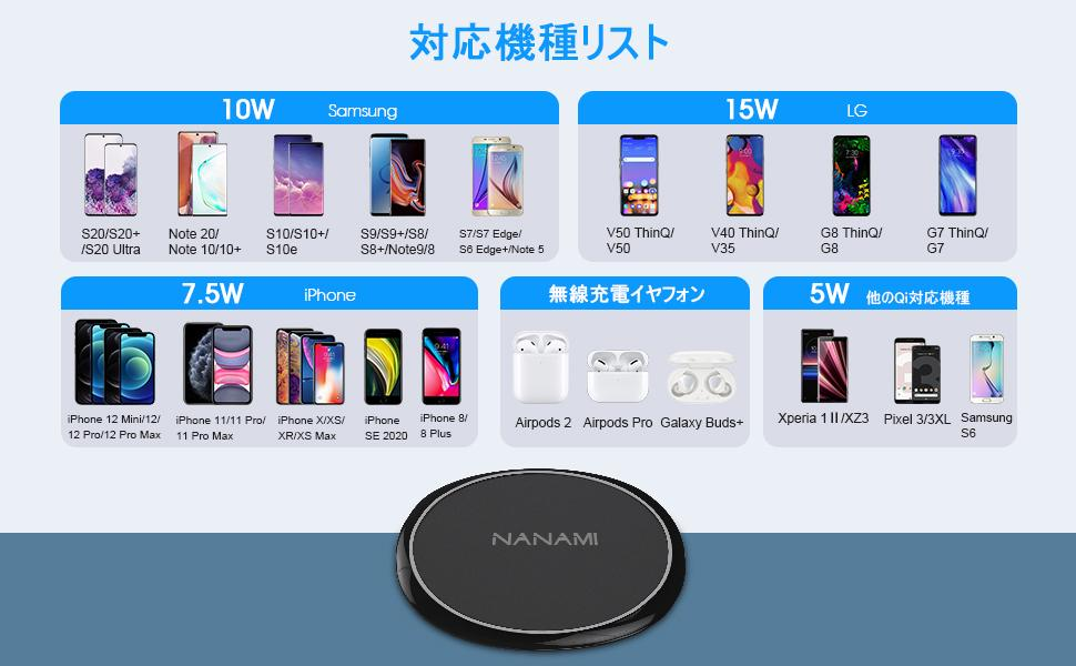 iphone Galaxy lg Xperia airpods ワイヤレス充電器