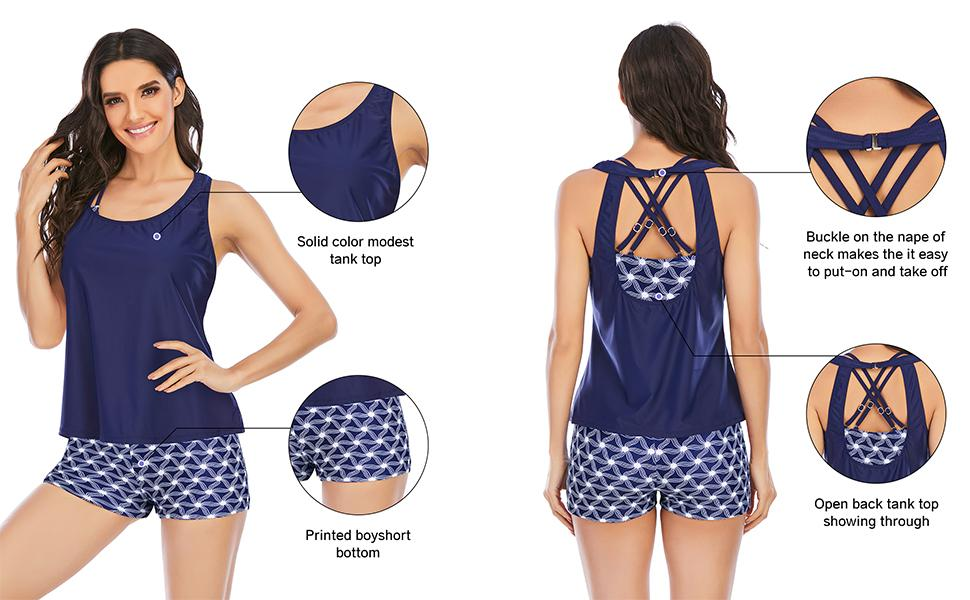 Bathing Suits Tank Top with Bra and Boyshort