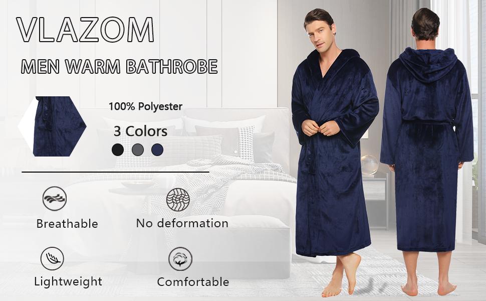 mens dressing gowns long length,mens soft navy hooded dressing gown,mens long dressing gown