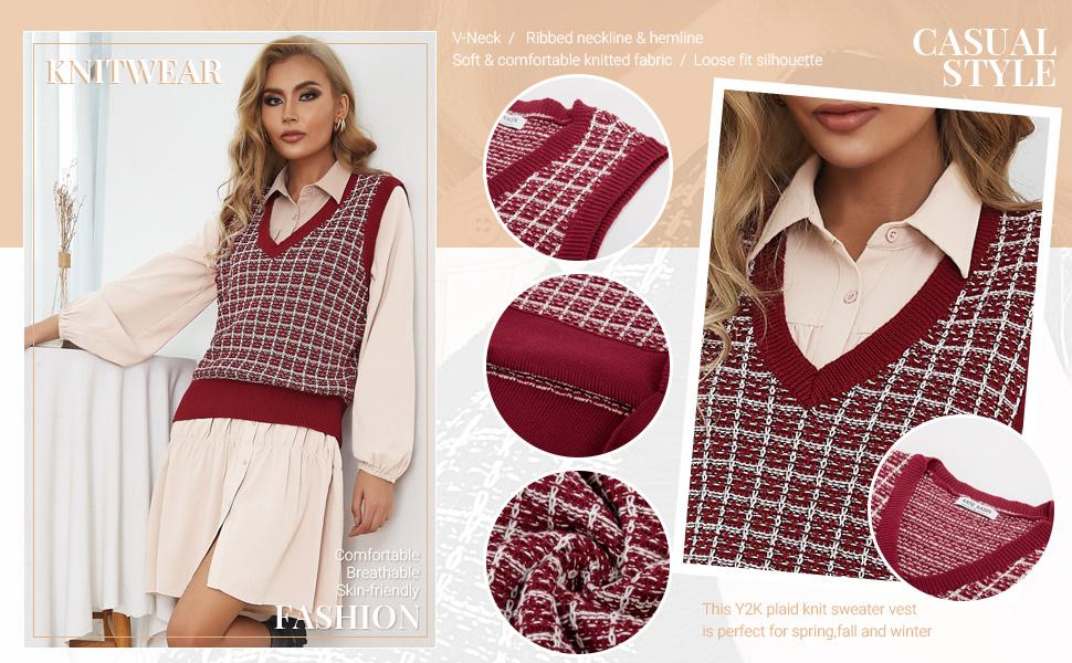Kate Kasin Women's Y2K Plaid Knit Sweater Vest