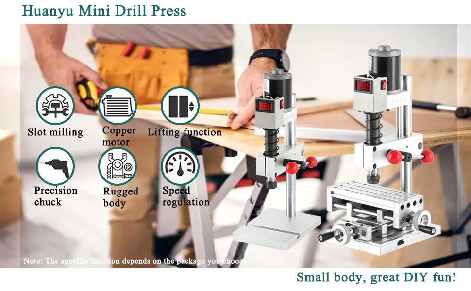 Huanyu Mini Drill Press Electric Benchtop Drilling Machine Drilling Tapping Slot Milling