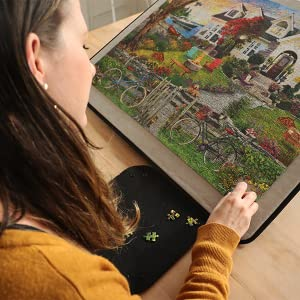 Woman doing jigsaw puzzle on an incline