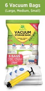 6 Vacuum Bags (2L+ 2M+ 2S)