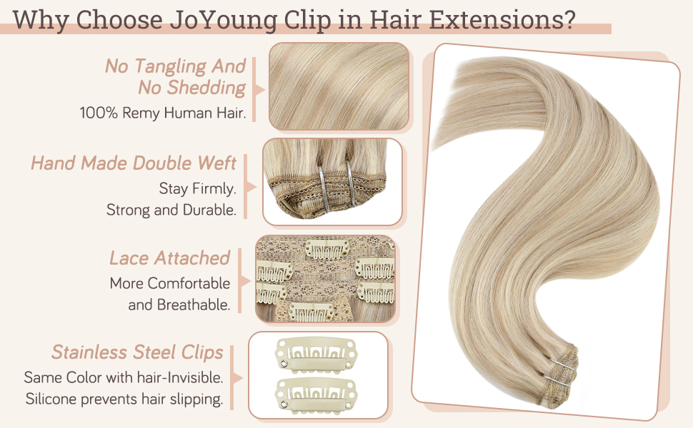 blonde highlight clip in human hair extensions double weft clip in extensions