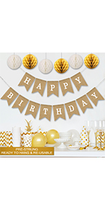 rustic happy birthday banner with paper honeycombs