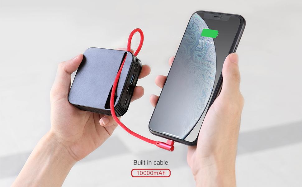 Portable Charger For Iphone 10000Mah Power Bank with Built In Iphone Cable