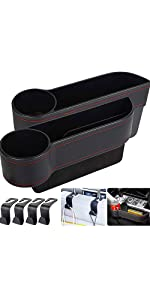 2 PK Car Seat Gap Organizer 4 Hooks Universal Front Seat Box with Cup Holder