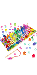5-in-1 wooden magnetic fishing puzzles
