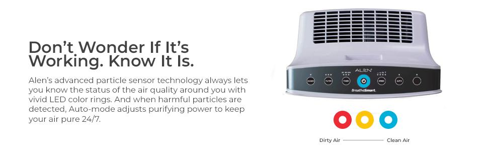 air quality light display detects particles dust mold bacteria virus pollen auto sensor cleans air c