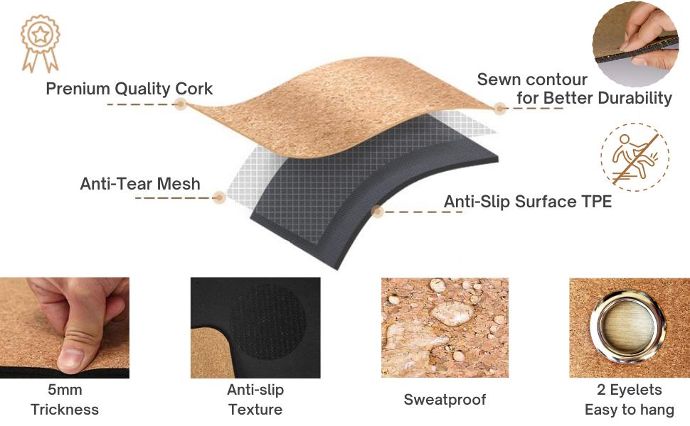 Prenium Quality Cork. Sewn contour for better durability. Anti-tear mesh. Anti-slip surface.