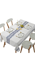 DUOFIRE Vinyl Tablecloth White Background Blue Leaf Rectangle Heavy Weight Table Cover Wipe Clean