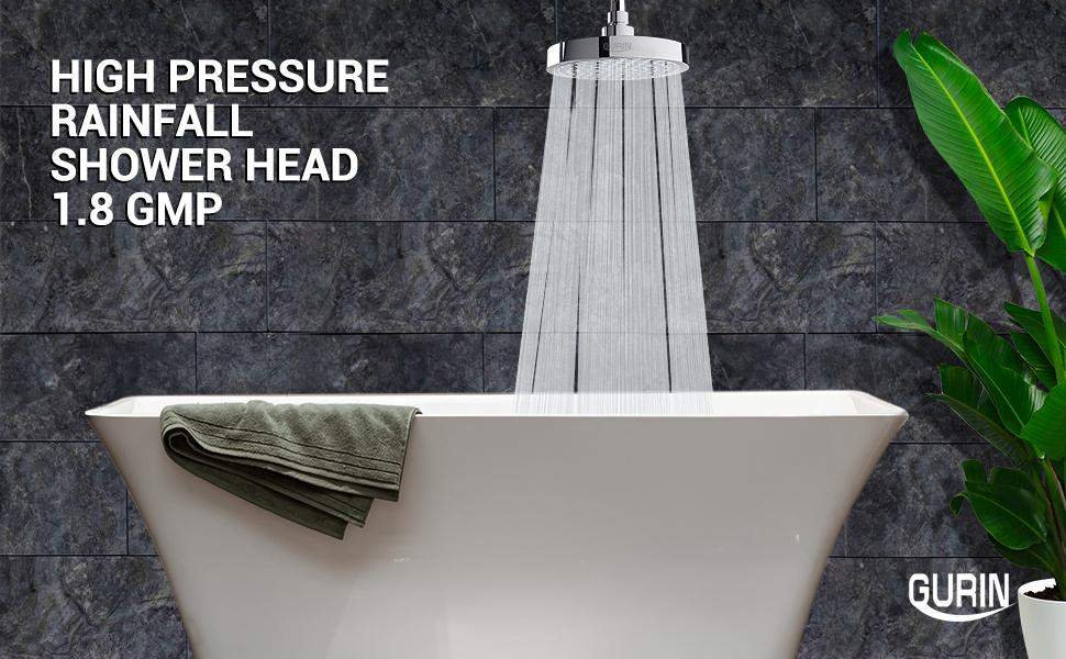 """Gurin Products 6"""" High Pressure Rainfall Shower Head Replacement 1.8 GMP"""